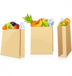 Grocery shopping bags vector