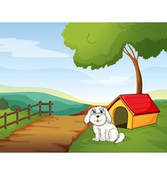 A white dog sitting in front of a dog house vector