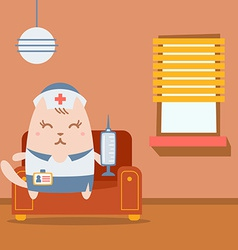 Character nurse in uniform with a medical cap vector
