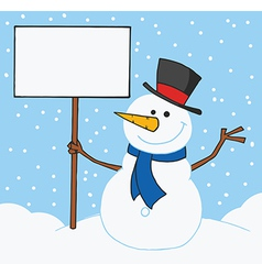Snowman holding a blank sign in the snow vector