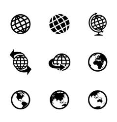 Black globe icons set vector