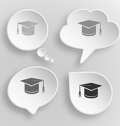 Graduation cap white flat buttons on gray vector