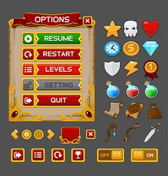 Medieval game gui pack 3 vector