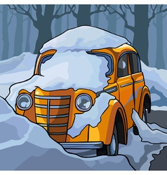 Cartoon yellow retro car in the snow vector