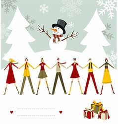 Snowman happy christmas card vector