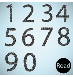 Set number road asphalt texture vector