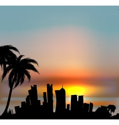 Sunset background with doha silhouette vector