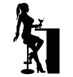 Silhouette woman sitting at the bar with cocktail vector