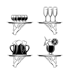 Hand with tray and drinks restaurant silhouettes vector