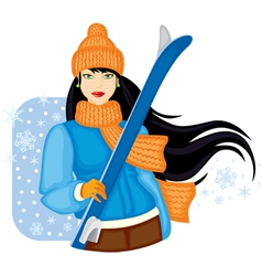 Girl with skis vector