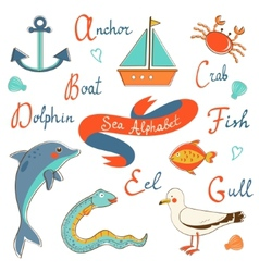 Cute sea alphabet vector