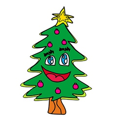 Christmas tree cartoon character vector