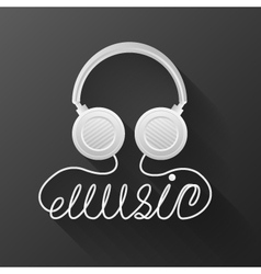 Music headphones black background vector
