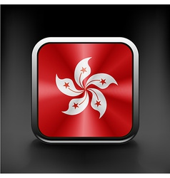 Hong kong flag button on white vector
