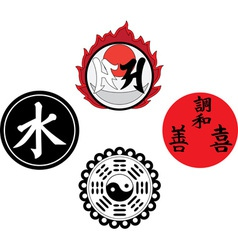 The asian religious and magic symbols vector