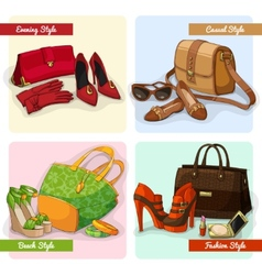 Set of women bags shoes and accessories vector