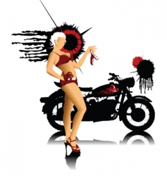 Bike and girl in red vector