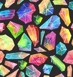 Colorful watercolor gem pattern beautiful crystal vector