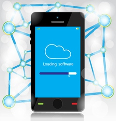 Cloud computing loading on mobile vector