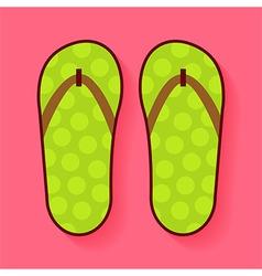 Flat summer shoes flip flops vector