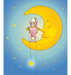 Cat dog and moon vector