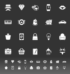 Department store item category icons on gray vector