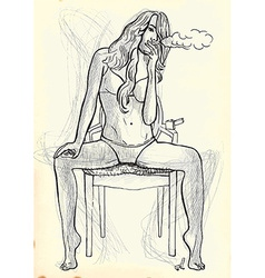 Smoker beauty on a chair vector