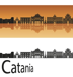 Catania skyline in orange background vector