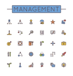 Colored management line icons vector