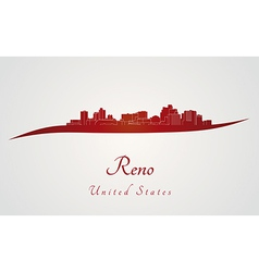 Reno skyline in red vector