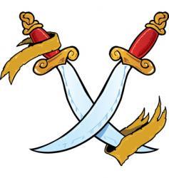Twin daggers tattoo style illustration vector