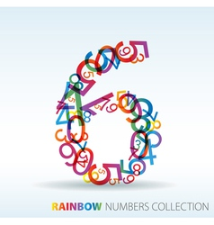 Rainbow number six vector
