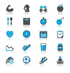 Healthcare flat with reflection icons vector