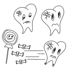 Hand drawn funny teeth icons set vector