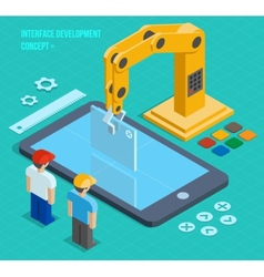 3d isometric user interface development vector