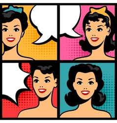 Retro girls in pop art style vector