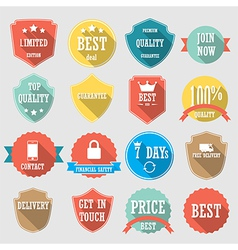 Set of color shopping shield retro vintage badges vector