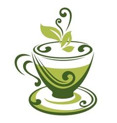 Icon of green tea cup vector