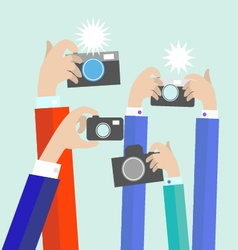 Flat photographers hands with devices take vector