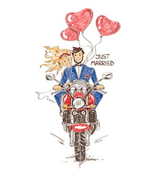 Wedding couple riding on a motorbike vector