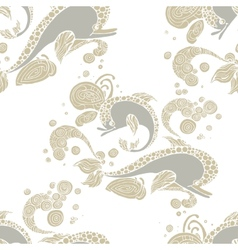 Seamless pattern with hand drawing dolphin doodle vector