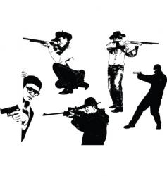 Men with gun vector