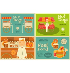 Fast food posters set vector
