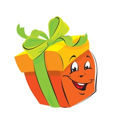 Gift box cartoon with funny face vector