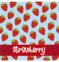 Pattern of strawberries isolated on blue backgroun vector