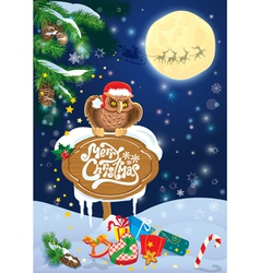 Christmas and new year card with flying reindeers vector