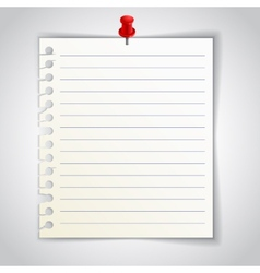 Lined notebook sheet with red pin vector