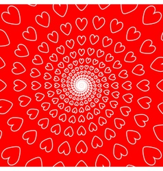 Design red heart spiral movement background vector
