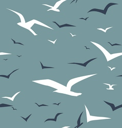 Seagulls and green sea seamless pattern vector
