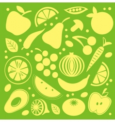 Fruit and vegetables pattern vector